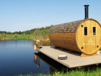 Three Room Barrel Wooden Sauna from Sauneco