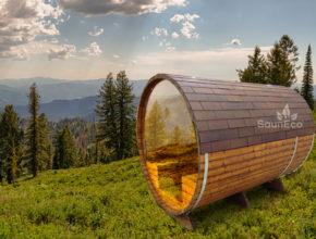 Barrel Sauna With A Glass Wall from Saneco