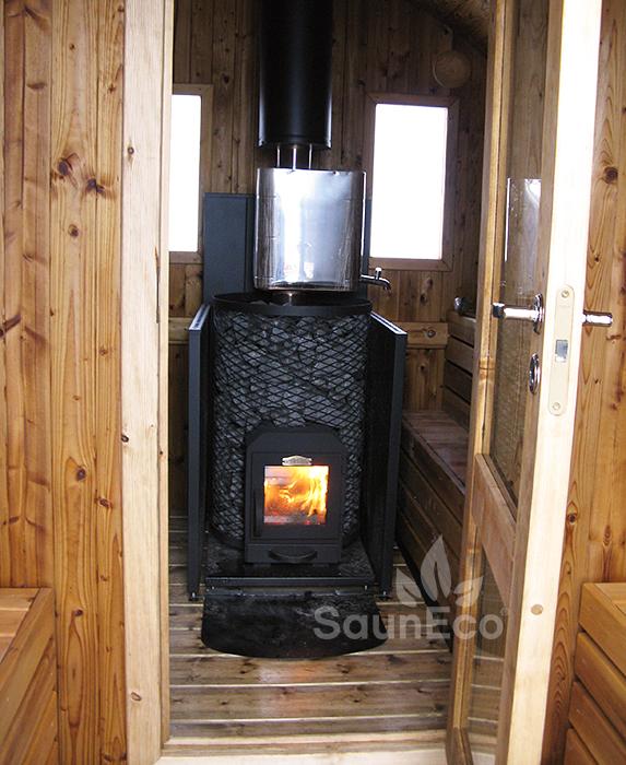 Two Room Barrel Sauna Terrace Wood Fired Heater